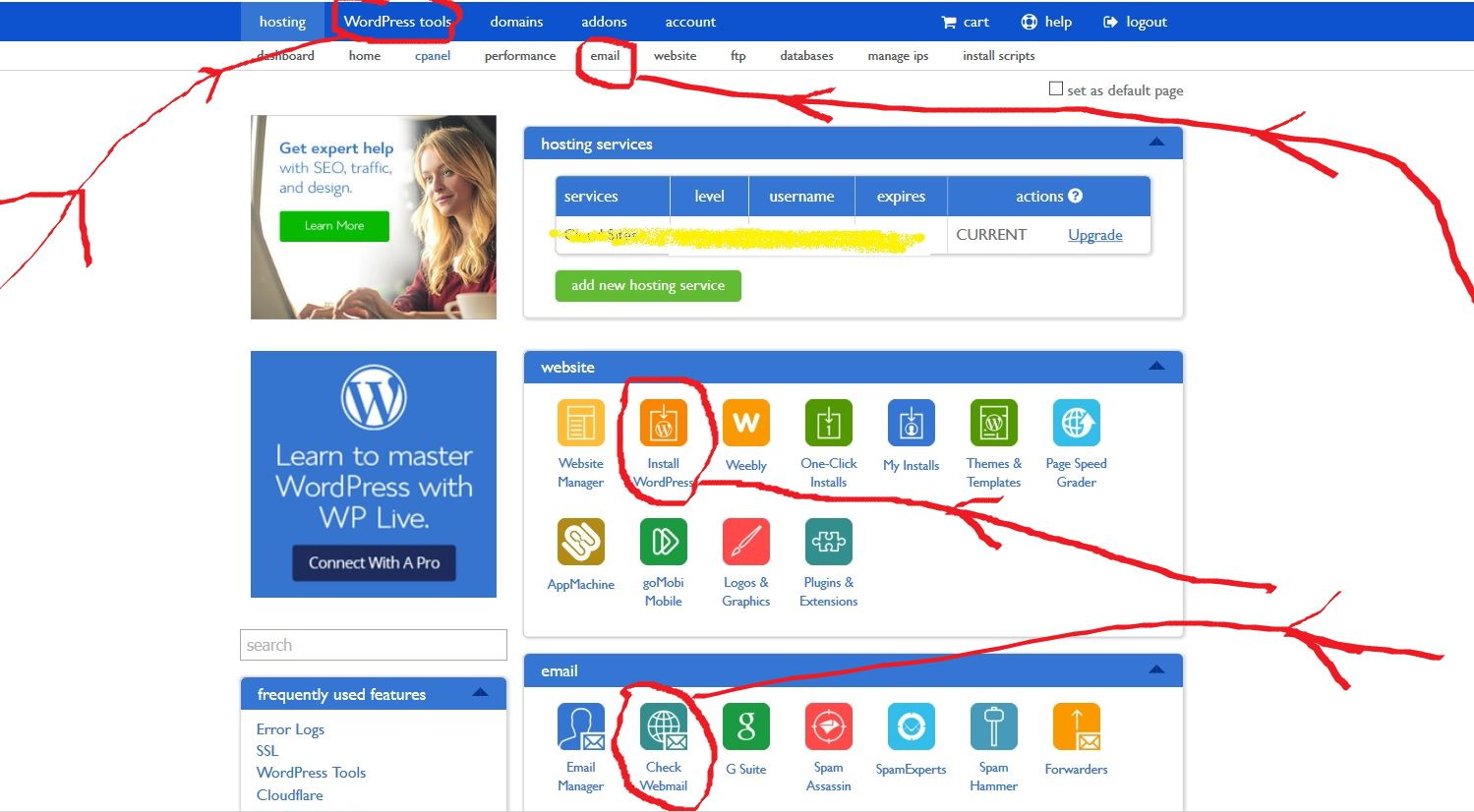 Bluehost hosting cpanel features sample