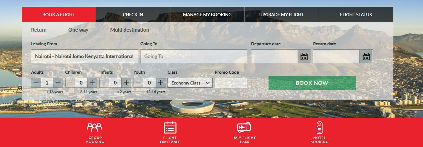 Kenya Airways online booking of tickets page
