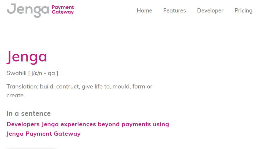 Jenga Payment gateway Front Website page