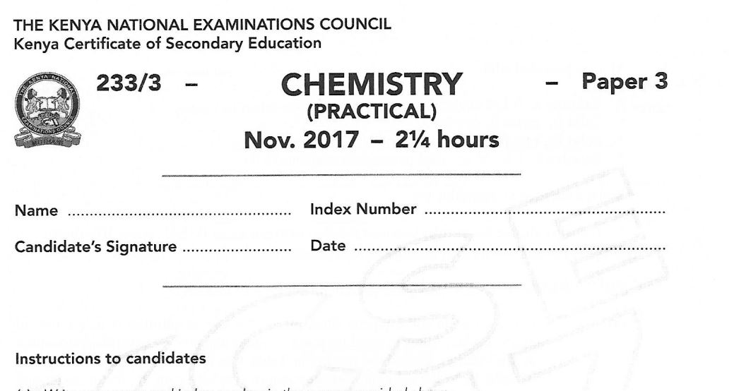 How to pass Chemistry KCSE Exams in Kenya and past papers | Kenyayote