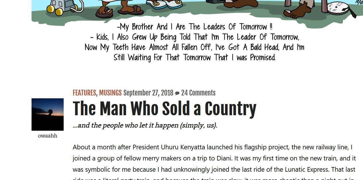 "Summary of ""The Man Who Sold a Country "" by Owaahh about kenya, corruption and kenyatta's"