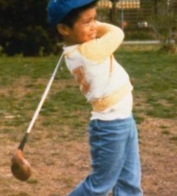 Tiger Woods playing Golf at his early childhood