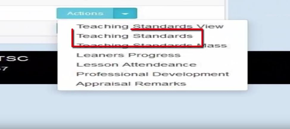 Filling TSC TPAD teaching standards