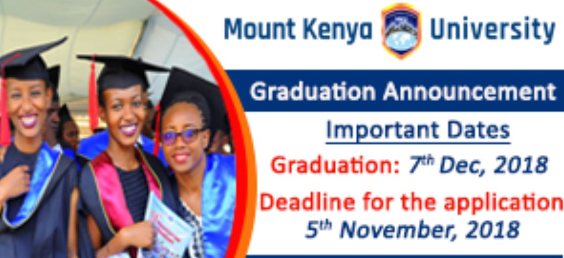 Update on Mount Kenya University (MKU) 15th Graduation Ceremony and list, December 2018