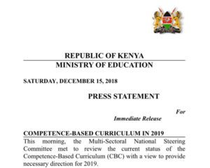 Education CS Amina Mohamed Statement on the on postponement of competency based curriculum (CBC) implementation to 2020