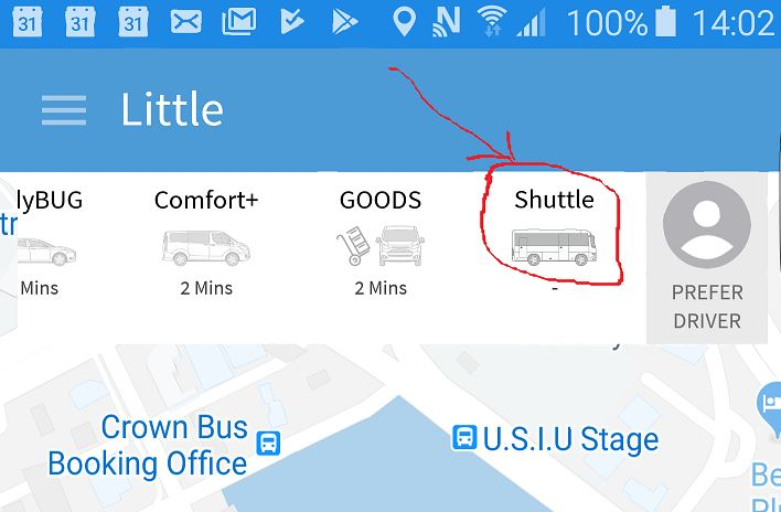 Select Shuttle Option in the Little Ap