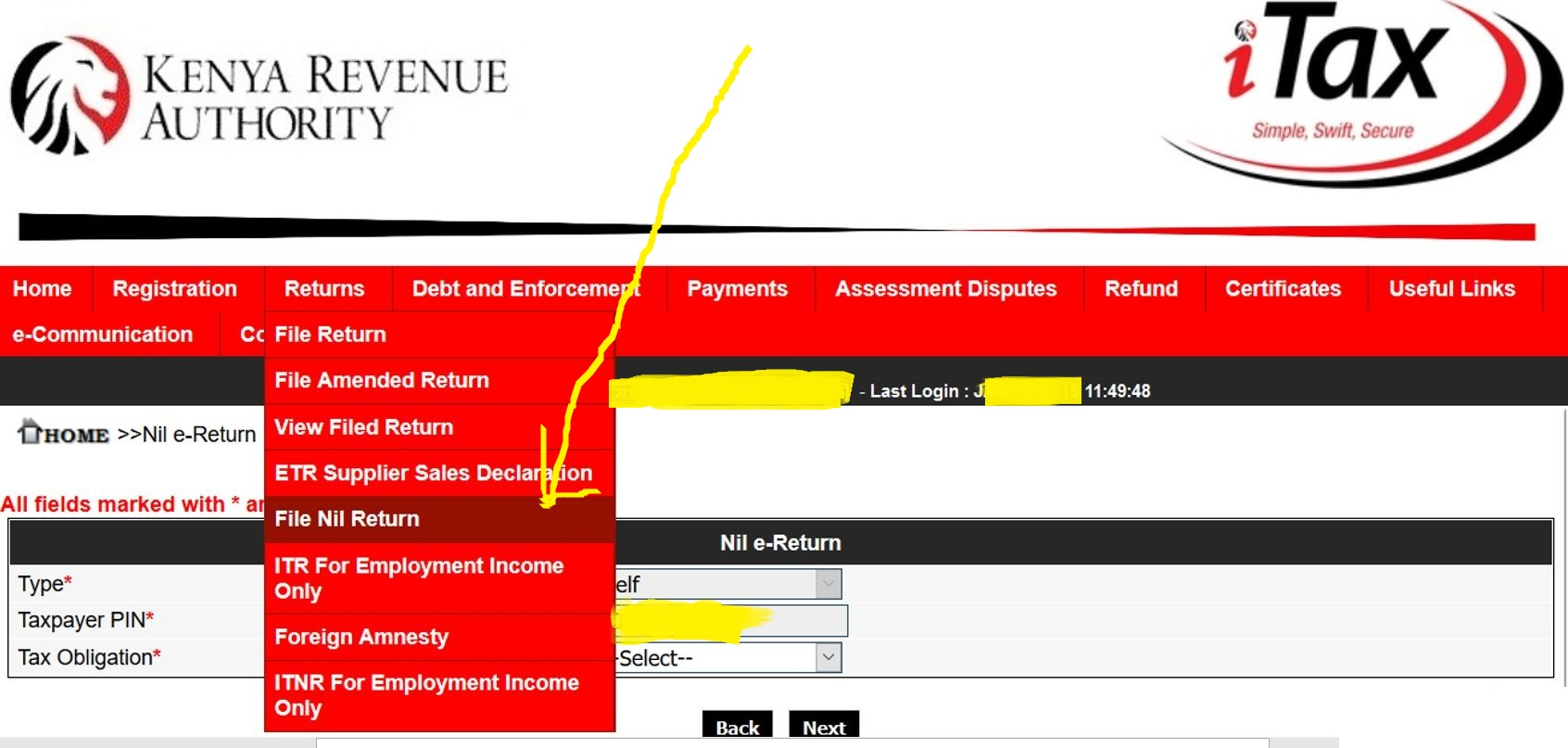 KRA File nil returns page on itax portal for campus student