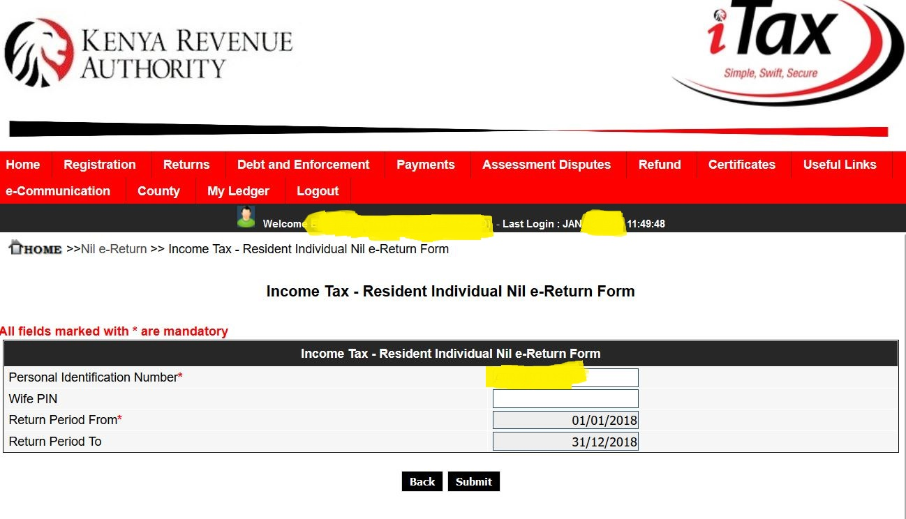 KRA year of tax filing submission page for university students