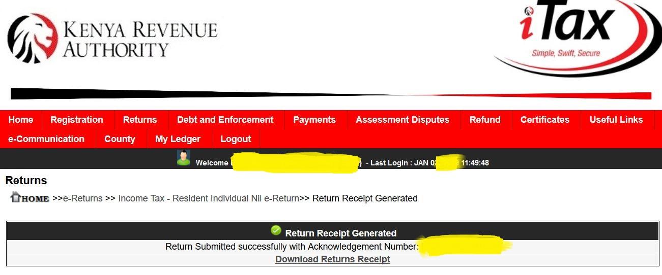 Downloading pdf of Kra tax acknowledgement receipt