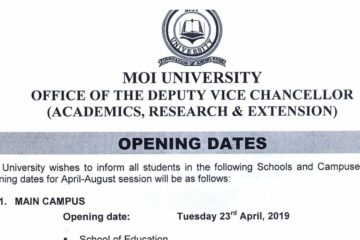 Moi University Opening dates, 2019 for all campus and