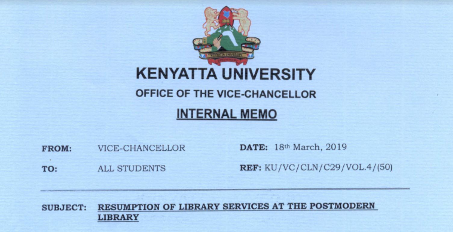 Kenyatta University statement on Scare incidence at postmodern