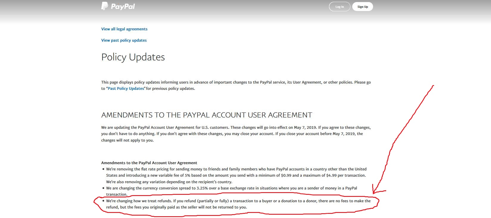 New Changes to PayPal User Agreement on Refunds Policy 2019
