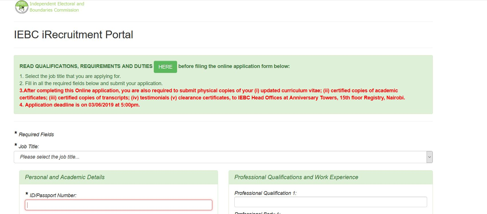 IEBC iRecruitment Portal and how to apply for jobs Guide