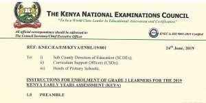 How to Register for Grade 3 students KEYA Exams, KNEC Enrollment procedure