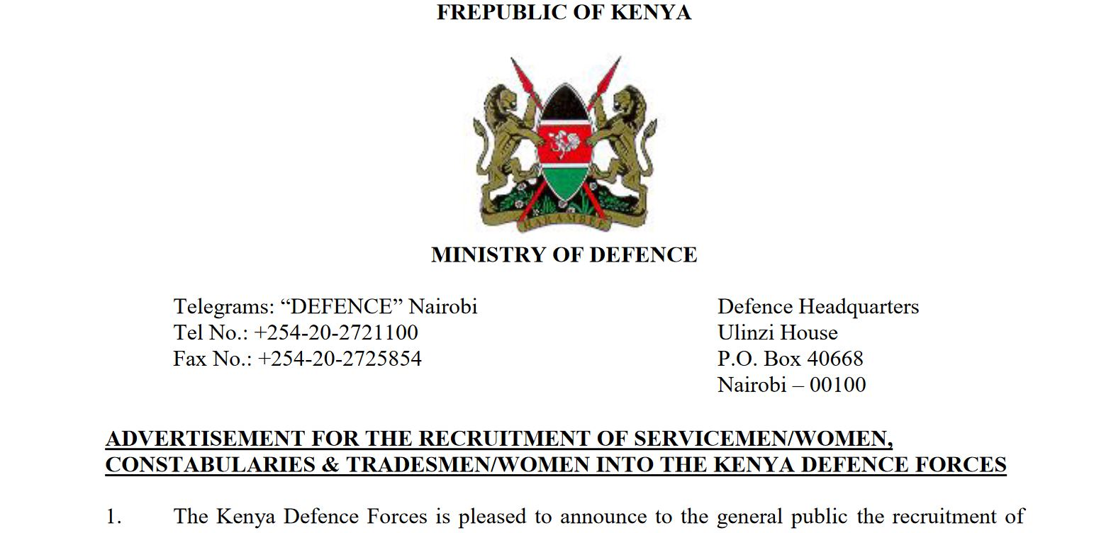 Latest on KDF Tradesmen Recruitment and How to apply for various vacancies