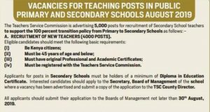 August 2019 TSC Teaching Vacancies for Primary, Secondary teachers and how to apply