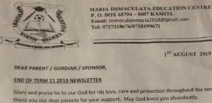 Maria Immaculata Education Center asks parents to contribute money for Deputy President William Ruto's visit