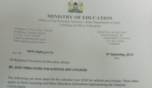 2020 School Term dates, opening and closing dates for primary, secondary and colleges in Kenya
