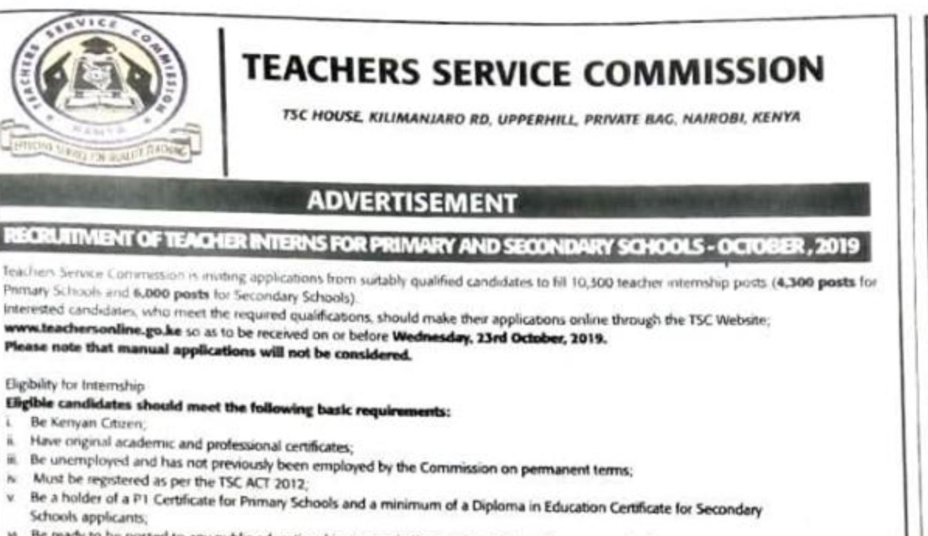 Procedure of applying for 2019 TSC Internship jobs online and Requirements for teachers
