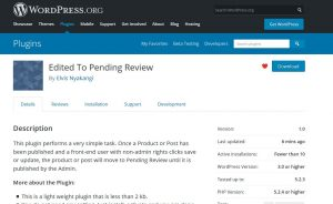 Woocommerce WC Vendors change status to pending review after editing