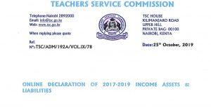 TSC Online Wealth Declaration 2019 Circular for teachers