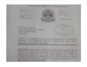 TSC notice to terminate KNUT and bring the union to an end