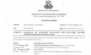 Kenyatta University Academic Year 2019, 2020 Calendar and Timetable