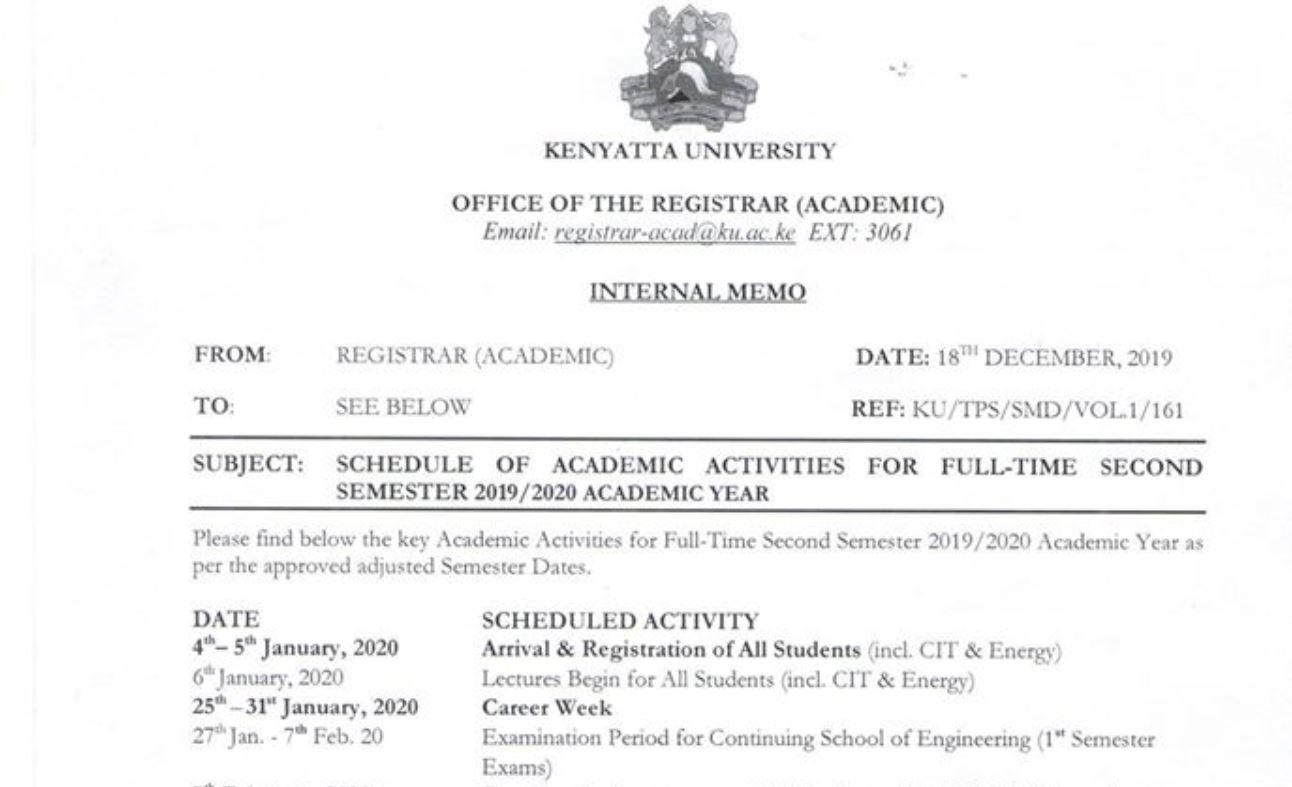 Kenyatta University Academic Year 2019, 2020 Calendar and Timetable